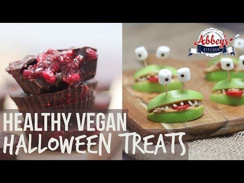 Healthy VEGAN HALLOWEEN Treats | Blood & Guts Chocolate Cups & Apple & Almond Butter Alien Smiles