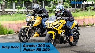 TVS Apache 200 vs Pulsar RS 200 - Drag Race | MotorBeam