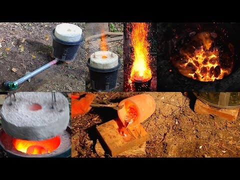 Large $50 Mini Homemade Metal Foundry Furnace Forge propane or charcoal DIY Aluminum Casting Pt. 4