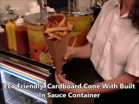 Eco Cardboard Cone with Sauce Container