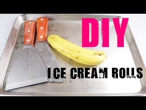 Homemade ICE CREAM ROLLS with Banana, DIY Ice Cream Roll Recipe Tool