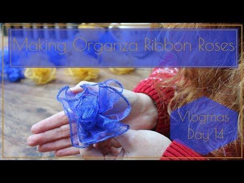 Making Organza Ribbon Roses for my wreath- Vlogmas Day 14