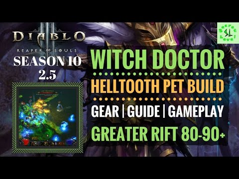 Diablo 3 Season 10 | Witch Doctor Helltooth PET BUILD GUIDE | GR 80-90+ |  GEAR SKILLS GAMEPLAY