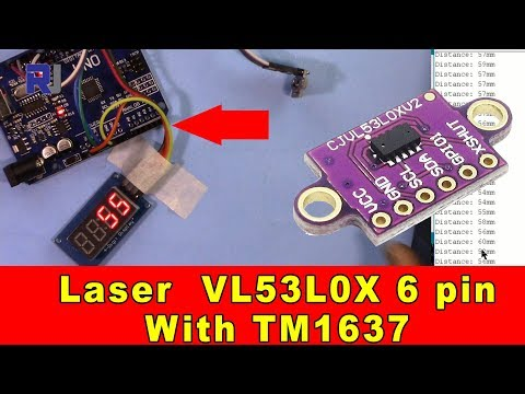 Using VL53L0X 6 pin Laser module with TM1637 LED Display to measure distance