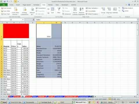 Excel 2010 Statistics #34: Data Analysis Add-in Descriptive Statistics tool