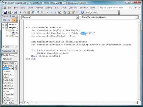 Find all 3 letter words in MS Word document using VBA and regular expressions