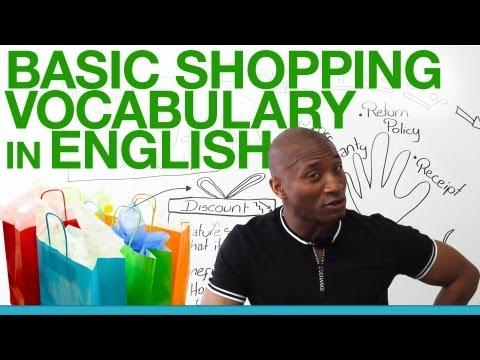 Basic shopping vocabulary in English