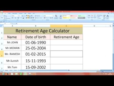 how calculate Retirement age in excel 2007,2010