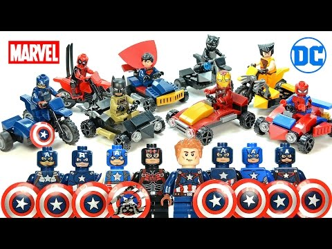 Superman Captain America Batman Iron Man Spider-Man Motorcycles & Go-Karts Unofficial LEGO Sets