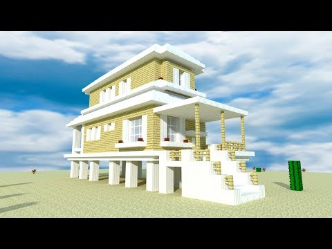 Minecraft: How to Build a Modern Beach House!!! Tutorial