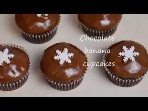Chocolate banana cupcakes recipe - Christmas cupakes