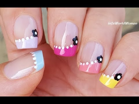 FRENCH MANICURE DESIGNS #14 / Colorful Side NAIL TIPS With Dotting Tool Flowers