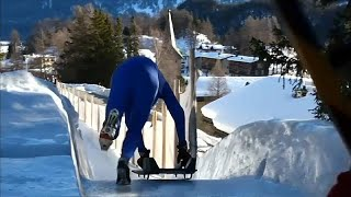 شاهد.. التزحلق من منحدر ارتفاعه 514 قدما في سويسرا
