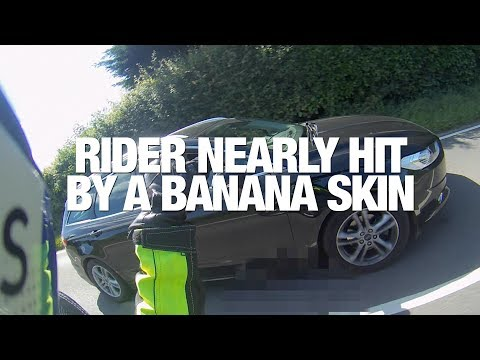 ROYAL PSYCHOLOGIST NEARLY GETS ★ HIT BY BANANA SKIN ★ON A MOTORBIKE