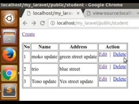 Laravel 5.4 (on ubuntu) - Simple laravel CRUD from scratch [part 3]