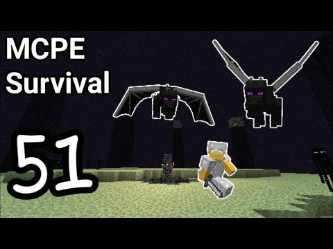 MCPE Survival 51 - Fighting the ender dragon ... TWICE !!!