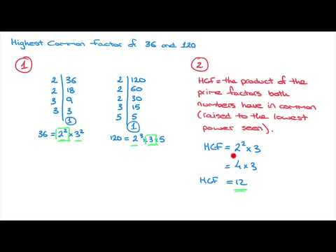How to find the HCF, Highest Common Factor, using Prime Factorization
