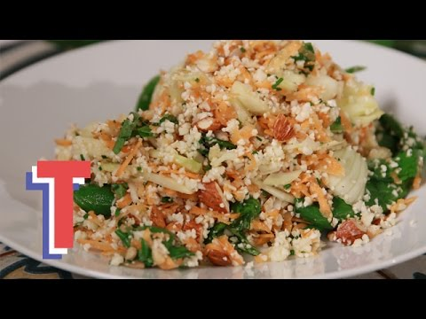 Tasty Raw Cauliflower Couscous Salad With Green Veg | Yum In The Sun 3
