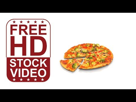 100% FREE download HD videos – pizza on white background spinning around slowly 360 degrees seamless