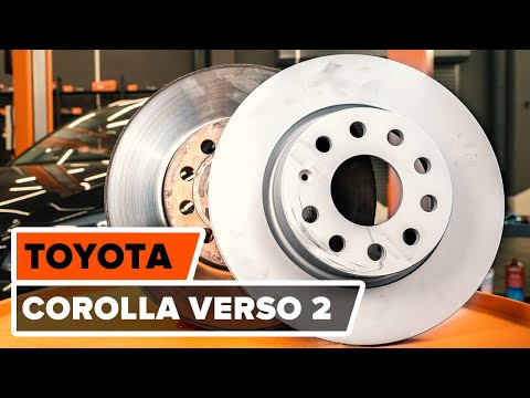 How to change a front brake discs and front brake pads on TOYOTA COROLLA VERSO 2 TUTORIAL | AUTODOC