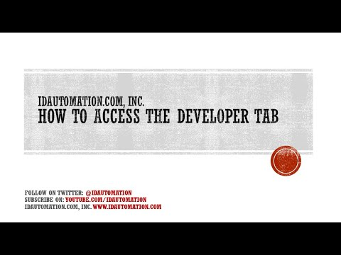 How to add the Developer Tab for Microsoft Excel 2013