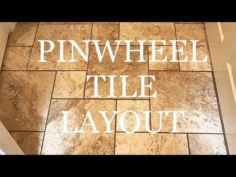 PINWHEEL TRAVERTINE TILE FLOOR DESIGN INSTALL TIMELAPSE