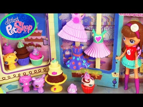 LPS Sweetest Sugar Chic Shoppe Playdoh Cupcakes Chocolate Cake Playset Littlest Pet Shop Food