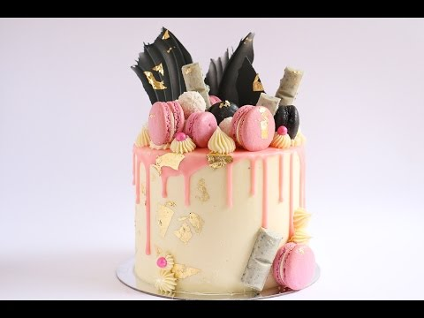 Loaded Pink Gold and Black Cake Drip Tutorial- Rosie's Dessert Spot