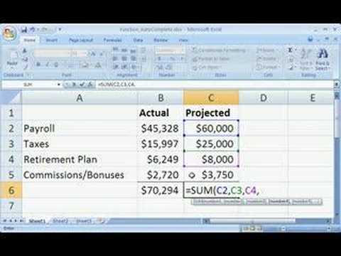 Excel 2007 Demo: Create a formula with Function AutoComplete