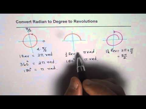 Convert and Estimate Radians to Degrees to Revolutions