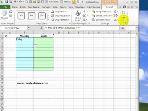 Excel 2010 Fix ComboBox Size for VBA