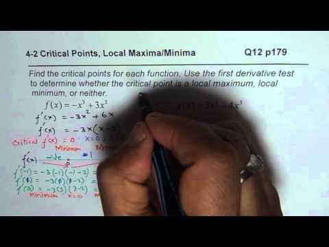 Q12 p179 Find Critical Points Local Maximum Minimum Neither