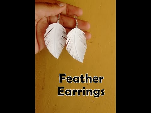 How to make paper feather earrings easily at home