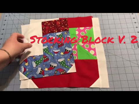 Sew With Me Christmas Stocking Quilt Block Version #2
