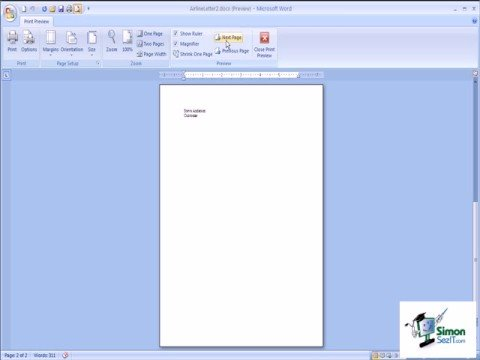 Using the Shrink to One Page in Word 2007