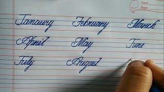 January, february cursive writing learn calligraphy
