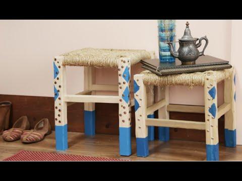 DIY Dip-Dyed Moroccan Style Stool | Eye on Design