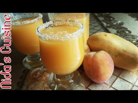 Mango Peach drink    Smoothie   Nida's Cuisine    2018    Summer special