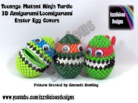 Rainbow Loom 3D Amigurumi/Loomigurumi Teenage Mutant Ninja Turtle Easter Egg Cover - Loomless