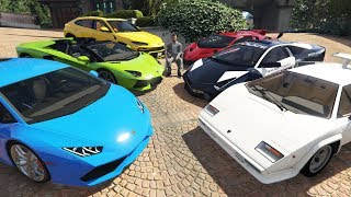 Lamborghini Cars Delivery to Michael's House in GTA 5! (Real Life Cars)