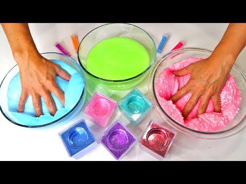 How to Make Crunchy Fluffy Slime Simple DIY Color Glitter Slime Showcase Best Slime Recipe 2017