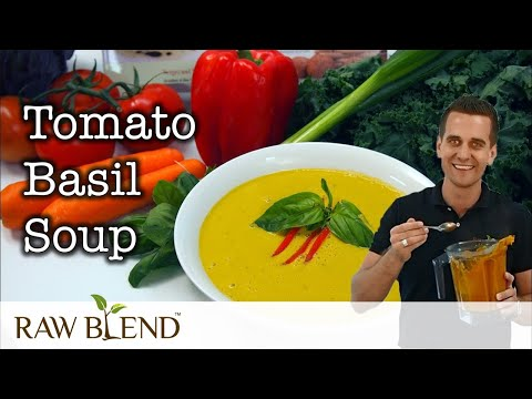 How to Make Hot Soup (Tomato Basil Recipe) in a Vitamix Blender by Raw Blend