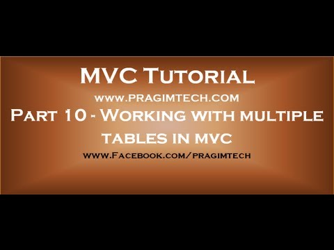 Part 10  Working with multiple tables in mvc