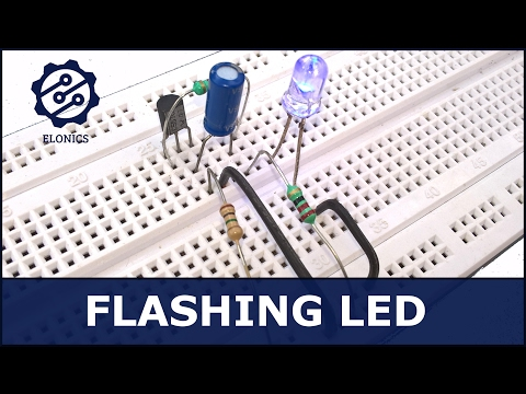 Flashing LED circuit using transistors on Breadboard - Basic Electronics Projects