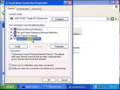 How to assign static ip address in window xp in vmware