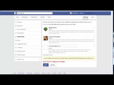 adding an admin to Facebook page - March 2015