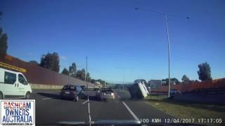 Car Crashes and Rolls on East Link Victoria