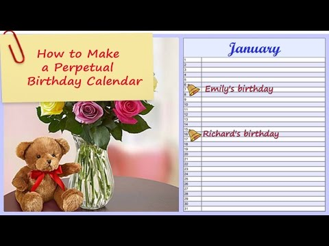 How to Make a Perpetual Birthday Calendar – Any Year Reminder with a Personal Touch