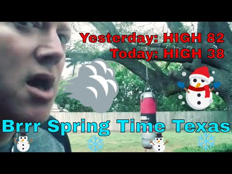 EXTREME 40 degree drop in TEMPS overnight! 38 degrees Spring afternoon TEXAS