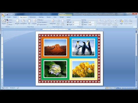 How to create page borders and insert images into a word document table|Microsoft word tutorial